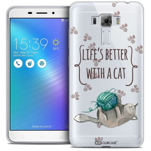 "Coque Crystal Gel Asus Zenfone 3 Laser ZC551KL (5.5"") Extra Fine Quote - Life's Better With a Cat"