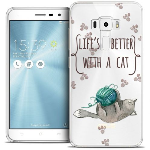 """Coque Crystal Gel Asus Zenfone 3 ZE552KL (5.5"""") Extra Fine Quote - Life's Better With a Cat"""
