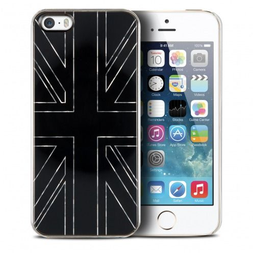 Carcasa Qdos® Smoothies Metallics Miror UK Negro por iPhone 5/5S