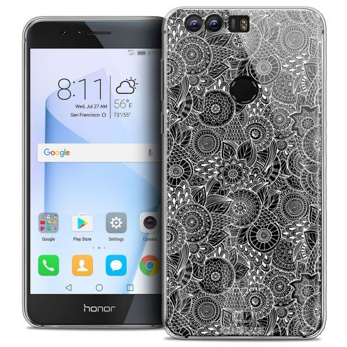 """Coque Crystal Gel Huawei Honor 8 (5.2"""") Extra Fine Dentelle Florale - Blanc"""
