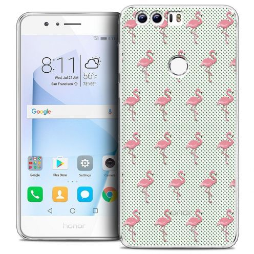 """Coque Crystal Gel Huawei Honor 8 (5.2"""") Extra Fine Pattern - Les flamants Roses Dots"""