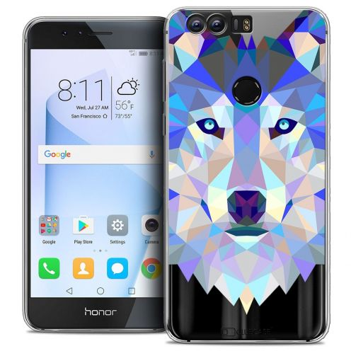 """Coque Crystal Gel Huawei Honor 8 (5.2"""") Extra Fine Polygon Animals - Loup"""