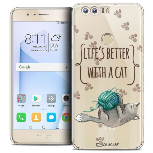 """Coque Crystal Gel Huawei Honor 8 (5.2"""") Extra Fine Quote - Life's Better With a Cat"""