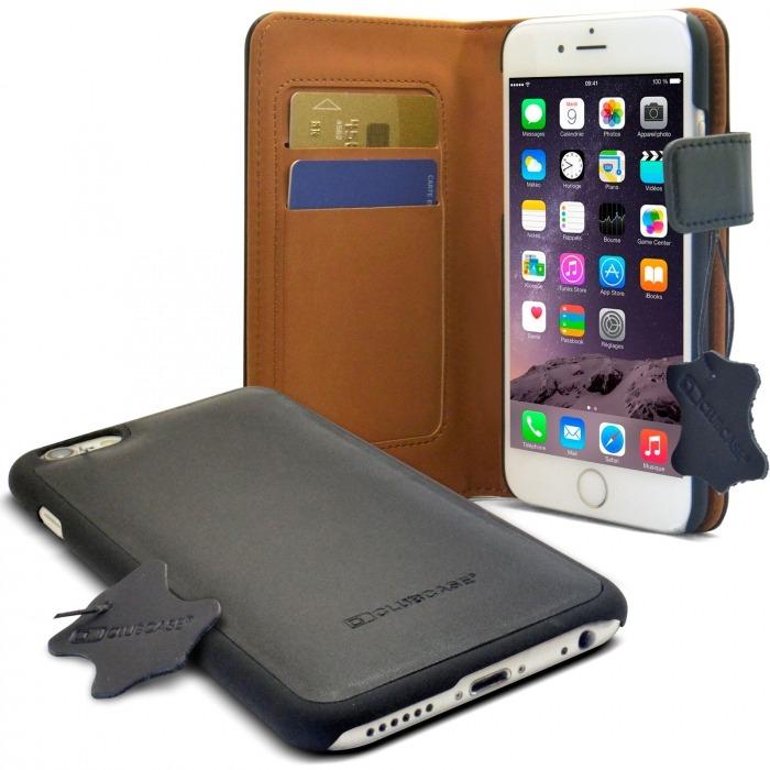 5e09422a32a Funda Cartera Folio de cuero verdadero Negro para iPhone 6 Plus ...