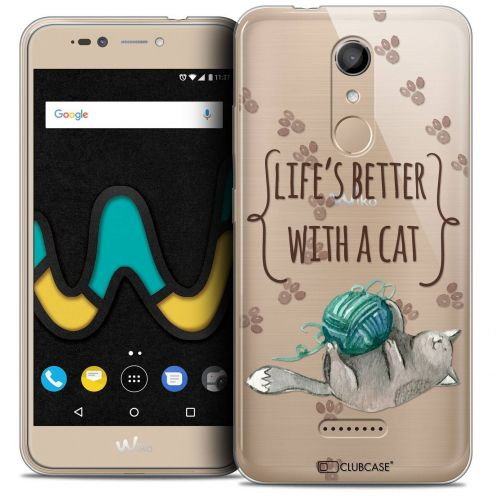 """Coque Crystal Gel Wiko U Pulse LITE (5.2"""") Extra Fine Quote - Life's Better With a Cat"""