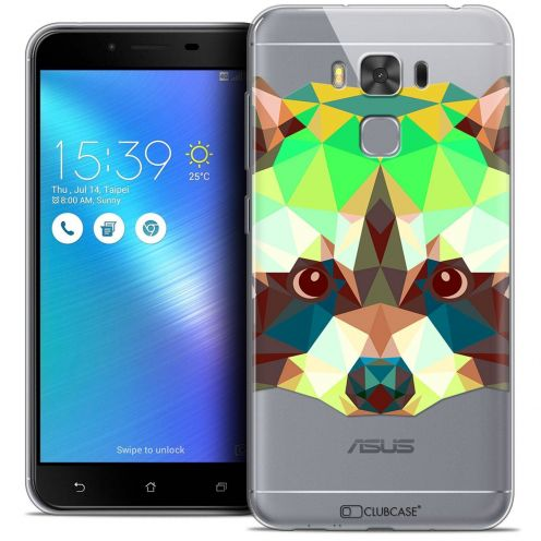 "Coque Crystal Gel Asus Zenfone 3 Max Plus ZC553KL (5.5"") Extra Fine Polygon Animals - Raton Laveur"