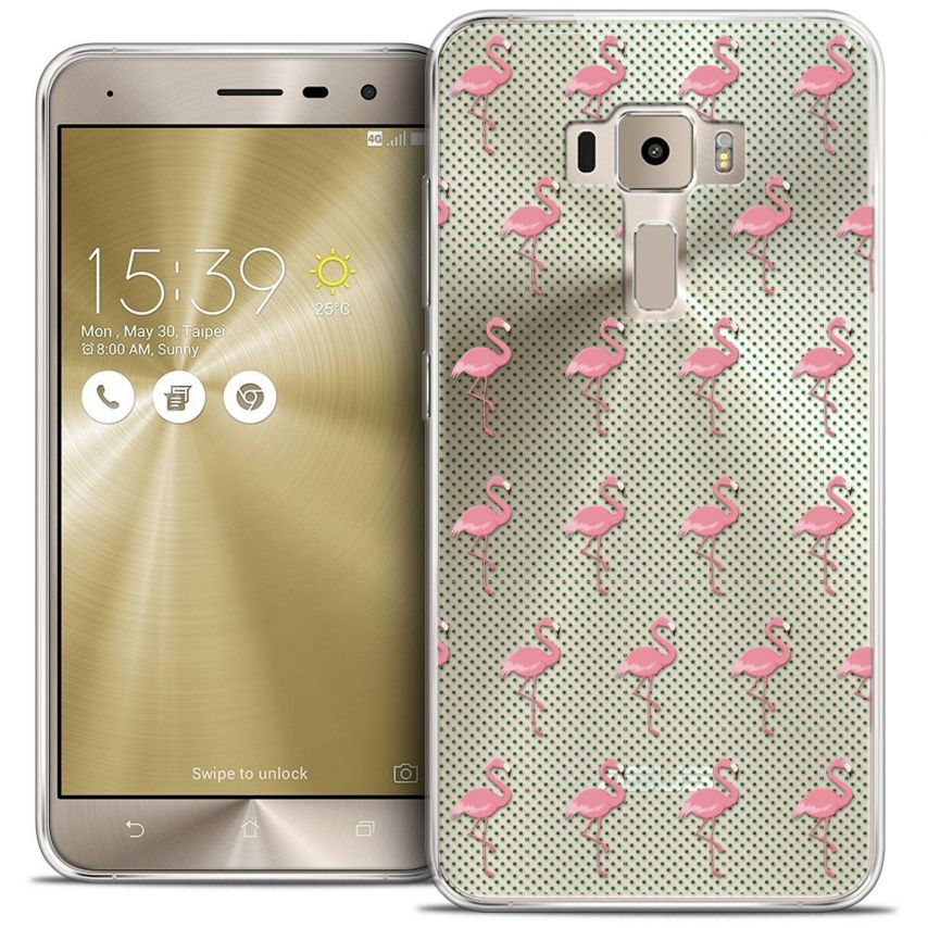 "Coque Crystal Gel Asus Zenfone 3 ZE520KL (5.2"") Extra Fine Pattern - Les flamants Roses Dots"