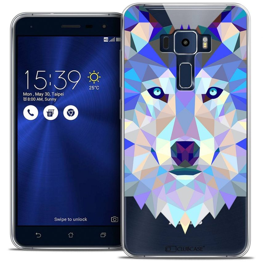 "Coque Crystal Gel Asus Zenfone 3 ZE520KL (5.2"") Extra Fine Polygon Animals - Loup"