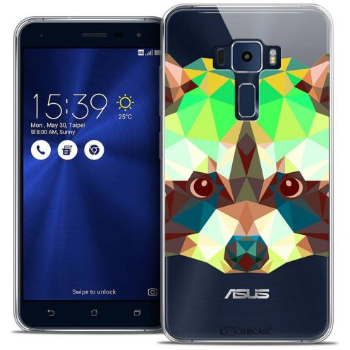 "Coque Crystal Gel Asus Zenfone 3 ZE520KL (5.2"") Extra Fine Polygon Animals - Raton Laveur"