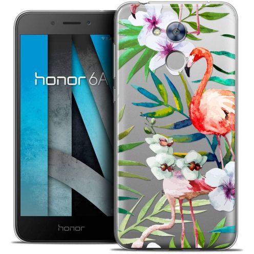 "Coque Crystal Gel Huawei Honor 6A (5"") Extra Fine Watercolor - Tropical Flamingo"
