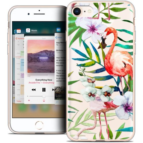 "Carcasa Crystal Gel Extra Fina Apple iPhone 8 (4.7"") Pattern Les flamants Roses"