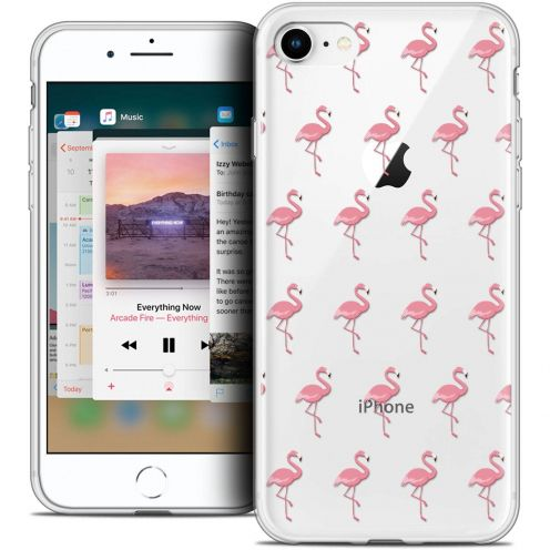 """Coque Crystal Gel Apple iPhone 8 (4.7"""") Extra Fine Pattern - Les flamants Roses"""