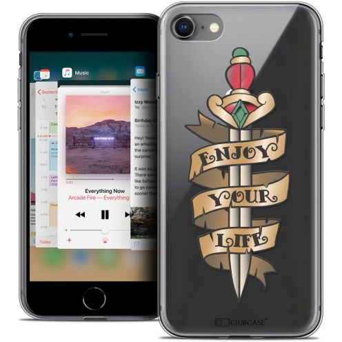 "Carcasa Crystal Gel Extra Fina Apple iPhone 8 (4.7"") Tatoo Lover Enjoy Life"