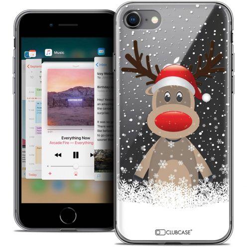 "Coque Crystal Gel Apple iPhone 8 (4.7"") Extra Fine Noël 2017 - Cerf au Bonnet"