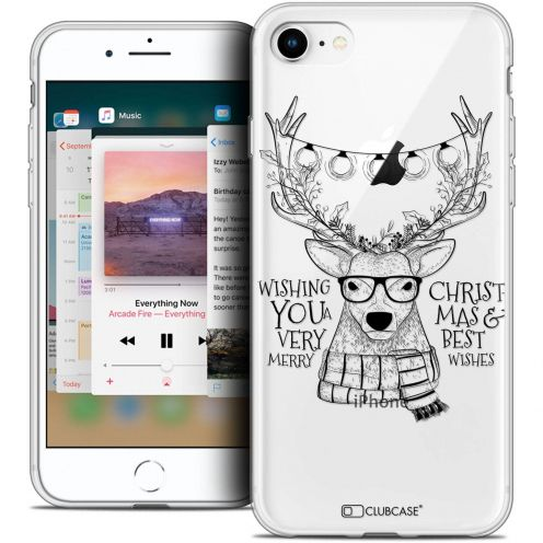 "Coque Crystal Gel Apple iPhone 8 (4.7"") Extra Fine Noël 2017 - Cerf Hipster"
