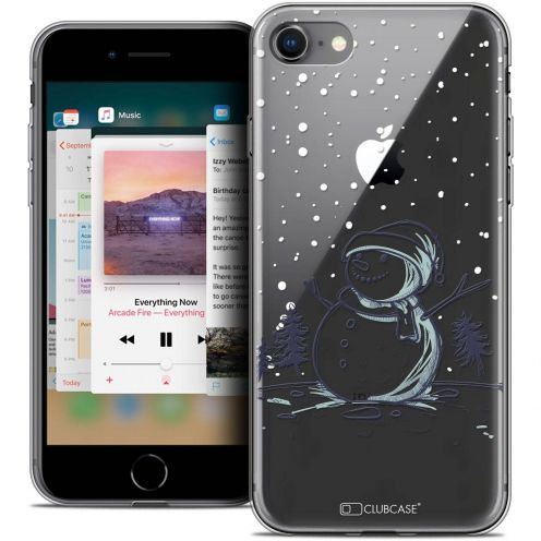 "Coque Crystal Gel Apple iPhone 8 (4.7"") Extra Fine Noël 2017 - Bonhomme de Neige"
