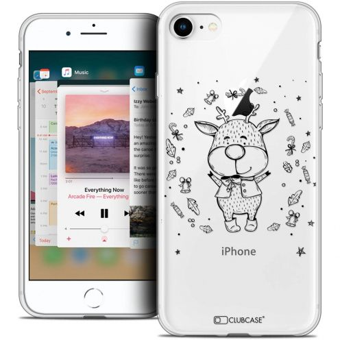 "Coque Crystal Gel Apple iPhone 8 (4.7"") Extra Fine Noël 2017 - Sketchy Cerf"