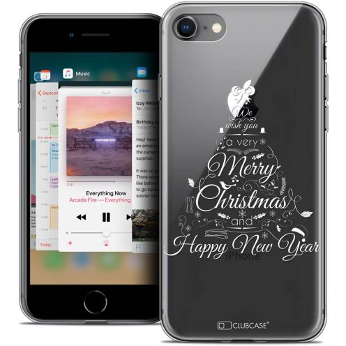 "Coque Crystal Gel Apple iPhone 8 (4.7"") Extra Fine Noël 2017 - Calligraphie"
