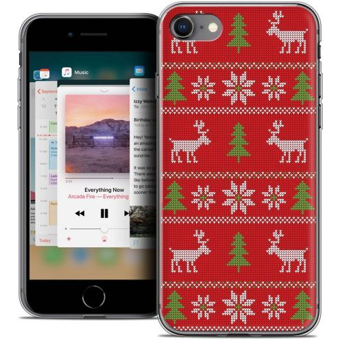 "Coque Crystal Gel Apple iPhone 8 (4.7"") Extra Fine Noël 2017 - Couture Rouge"