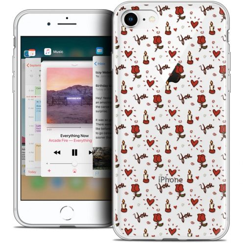 """Coque Crystal Gel Apple iPhone 8 (4.7"""") Extra Fine Love - Bougies et Roses"""