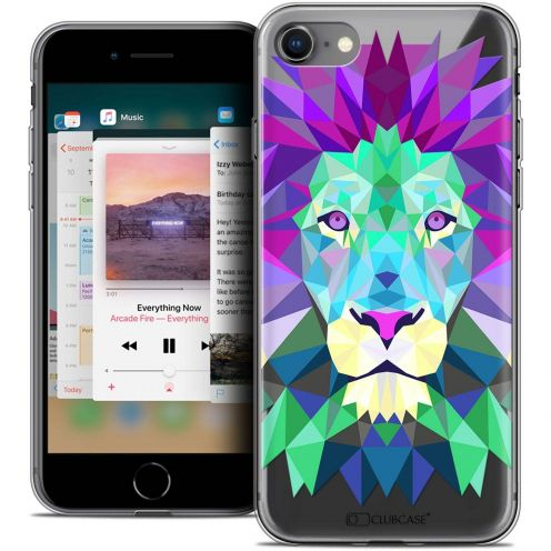 "Coque Crystal Gel Apple iPhone 8 (4.7"") Extra Fine Polygon Animals - Lion"