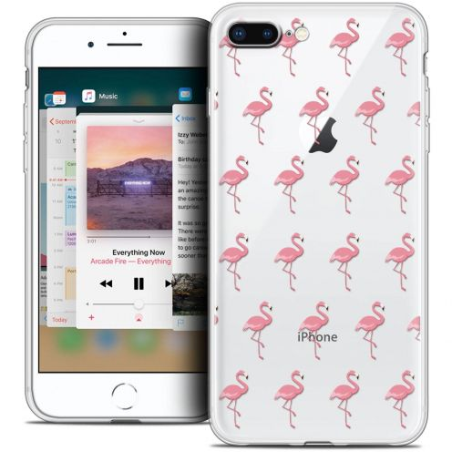 "Coque Crystal Gel Apple iPhone 8 Plus (5.5"") Extra Fine Pattern - Les flamants Roses"