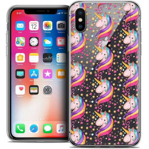 "Coque Crystal Gel Apple iPhone Xs / X (5.8"") Extra Fine Fantasia - Licorne Etoilée"