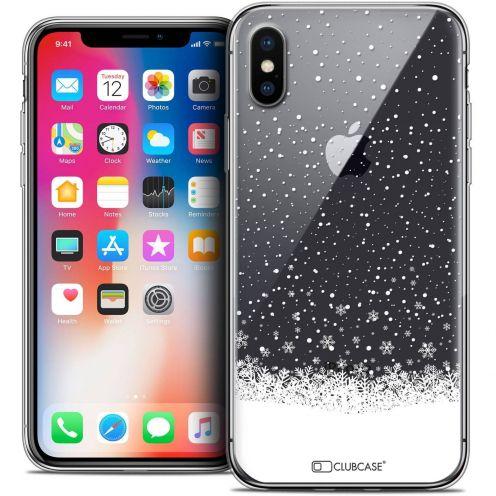 """Coque Crystal Gel Apple iPhone Xs / X (5.8"""") Extra Fine Noël 2017 - Flocons de Neige"""