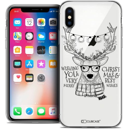 Carcasa Crystal Gel Extra Fina Apple iPhone X (10) Noël 2017 Cerf Hipster