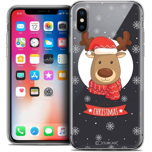"Coque Crystal Gel Apple iPhone Xs / X (5.8"") Extra Fine Noël 2017 - Cerf à Echarpe"