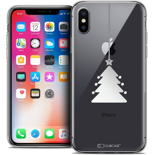 "Coque Crystal Gel Apple iPhone Xs / X (5.8"") Extra Fine Noël 2017 - Petit Arbre"