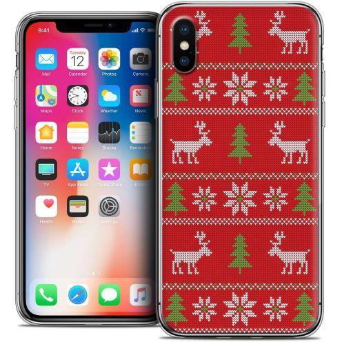 "Coque Crystal Gel Apple iPhone Xs / X (5.8"") Extra Fine Noël 2017 - Couture Rouge"