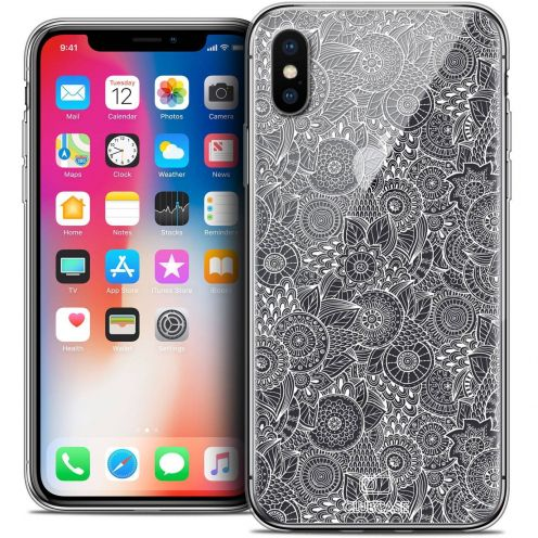 """Coque Crystal Gel Apple iPhone Xs / X (5.8"""") Extra Fine Dentelle Florale - Blanc"""
