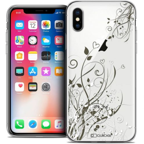 "Coque Crystal Gel Apple iPhone Xs / X (5.8"") Extra Fine Love - Hearts Flowers"