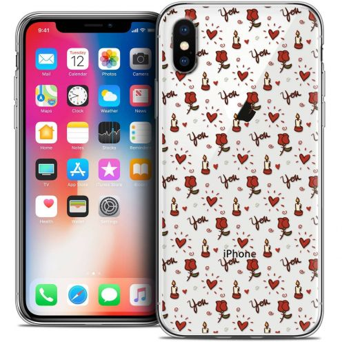 Carcasa Crystal Gel Extra Fina Apple iPhone X (10) Love Bougies et Roses