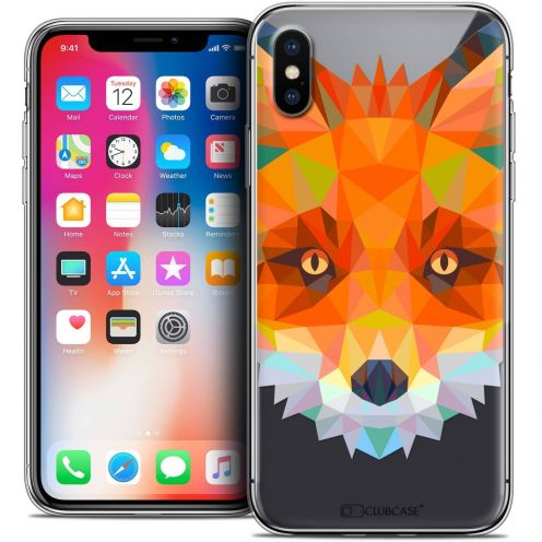 "Coque Crystal Gel Apple iPhone Xs / X (5.8"") Extra Fine Polygon Animals - Renard"