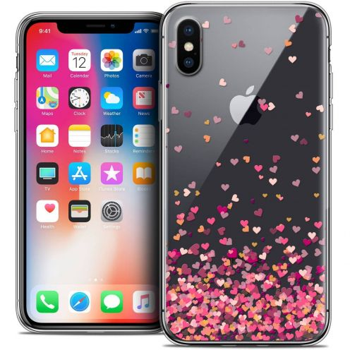 "Coque Crystal Gel Apple iPhone Xs / X (5.8"") Extra Fine Sweetie - Heart Flakes"