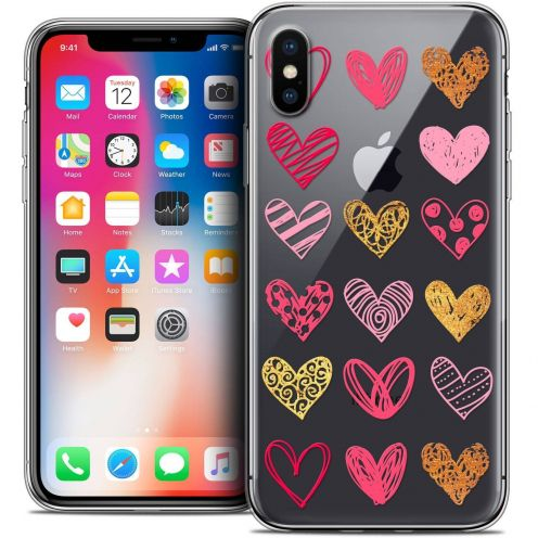 Carcasa Crystal Gel Extra Fina Apple iPhone X (10) Sweetie Doodling Hearts