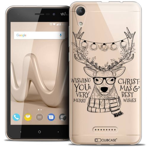 """Coque Crystal Gel Wiko Lenny 4 (5"""") Extra Fine Noël 2017 - Cerf Hipster"""