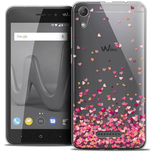 "Coque Crystal Gel Wiko Lenny 4 (5"") Extra Fine Sweetie - Heart Flakes"