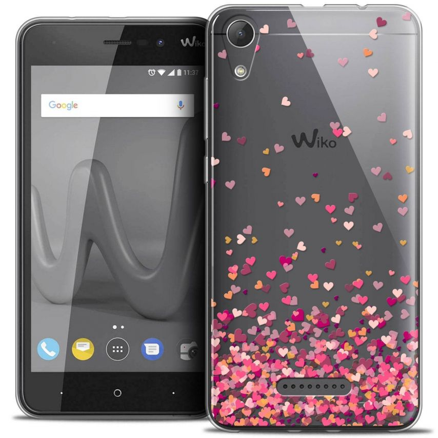 """Coque Crystal Gel Wiko Lenny 4 (5"""") Extra Fine Sweetie - Heart Flakes"""