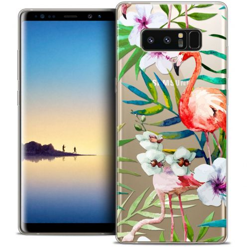 "Carcasa Crystal Gel Extra Fina Samsung Galaxy Note 8 (6.3"") Watercolor Tropical Flamingo"