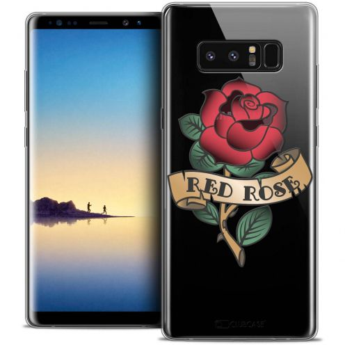 "Coque Crystal Gel Samsung Galaxy Note 8 (6.3"") Extra Fine Tatoo Lover - Red Rose"