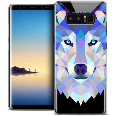 "Coque Crystal Gel Samsung Galaxy Note 8 (6.3"") Extra Fine Polygon Animals - Loup"