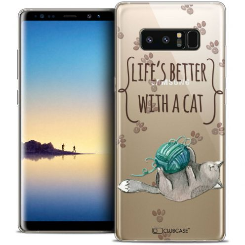"""Carcasa Crystal Gel Extra Fina Samsung Galaxy Note 8 (6.3"""") Quote Life's Better With a Cat"""