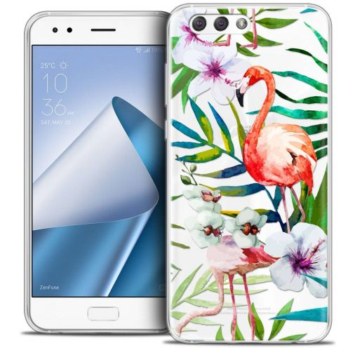 "Coque Crystal Gel Asus Zenfone 4 ZE554KL (5.5"") Extra Fine Watercolor - Tropical Flamingo"