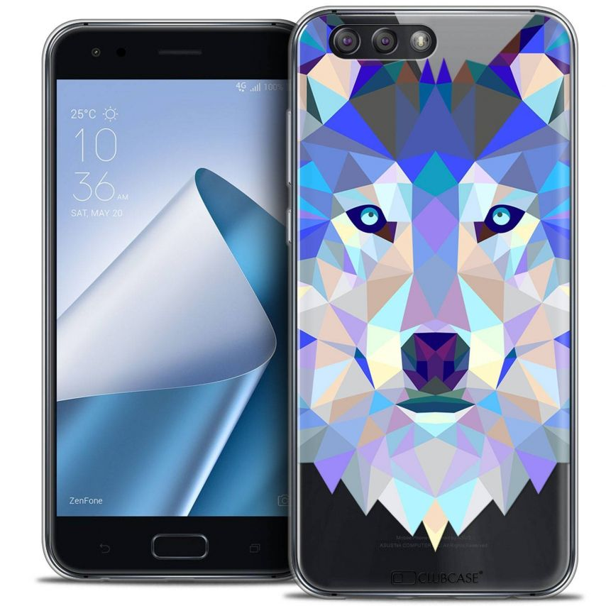 "Coque Crystal Gel Asus Zenfone 4 ZE554KL (5.5"") Extra Fine Polygon Animals - Loup"