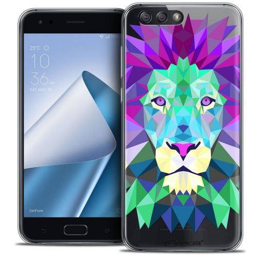 "Coque Crystal Gel Asus Zenfone 4 ZE554KL (5.5"") Extra Fine Polygon Animals - Lion"