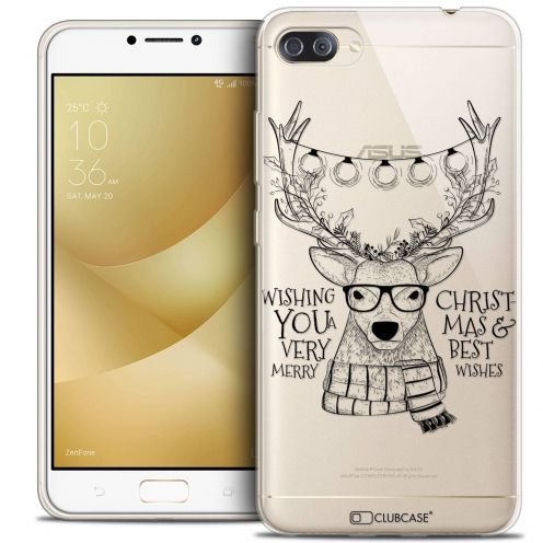 "Carcasa Crystal Gel Extra Fina Asus Zenfone 4 MAX PLUS / Pro ZC554KL (5.5"") Noël 2017 Cerf Hipster"