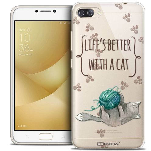 "Coque Crystal Gel Asus Zenfone 4 MAX PLUS / Pro ZC554KL (5.5"") Extra Fine Quote - Life's Better With a Cat"